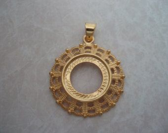 14mm Gold Plated Round Pendant Setting with Bail (2 pcs.)  SET098