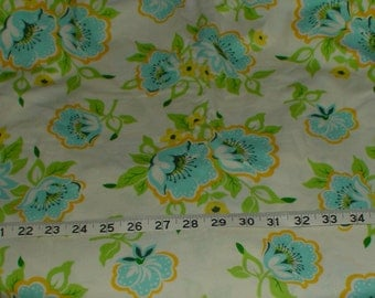 Church Flowers Blue Yellow White Fabric Generous yard