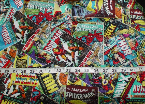 Comic Book Cover Material : Marvel comics comic book covers fabric yard