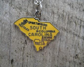 Vintage South Carolina State Travel Charm for Bracelet Pendant Necklace Sterling Silver blue