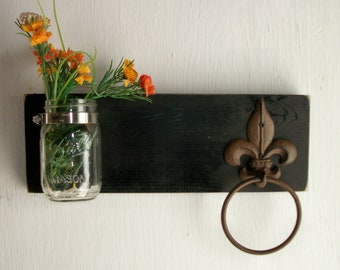 Wood Kitchen or Bathroom Wall Shelf  Towel Ring  fleur de lis Industrial Urbin Satin Black Mason Jar