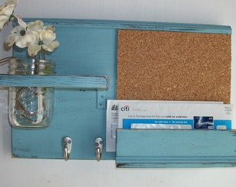 Wood Robin Egg Blue Wall Shelf Cork Bulletin Board Message Center With Letter Holder and Mason Jar