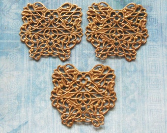 Brass Butterfly Wing Lot Jewelry Finding Antique Filigree Moth Fairy Art Doll Pendant Embellishment