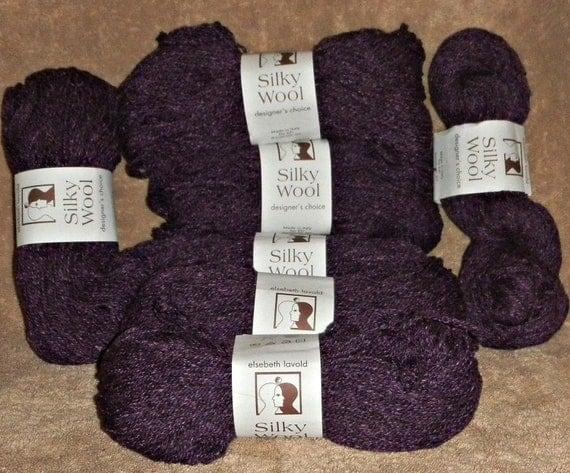 Seven Skeins of Elsebeth Lavold Silky Wool Color Purple Wool Silk Blend DK Weight