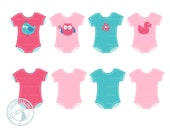 Onsies Clip Art, Baby Clothes Clip Art, Baby Layette Clip Art, Baby Shower Clip Art