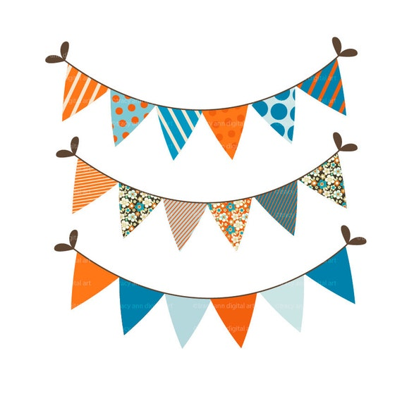 Orange and Blue Party Bunting Clip art - Set of 6 Party Images