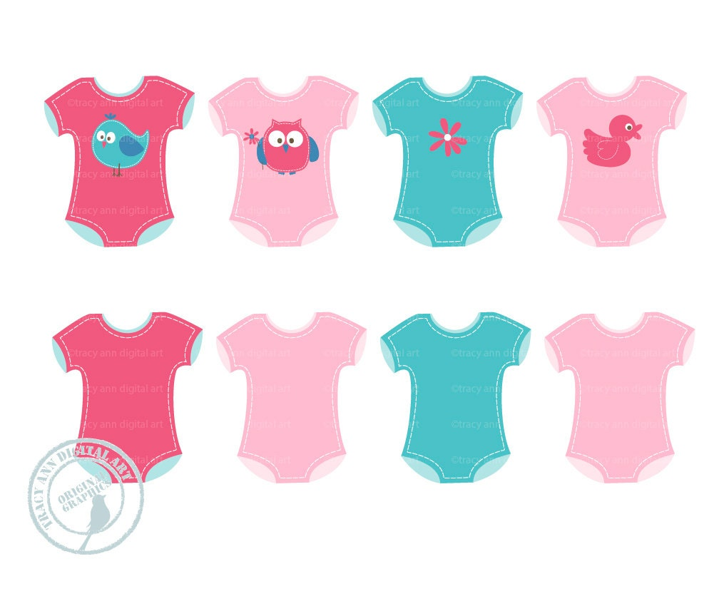 Onsies Clip Art Baby Clothes Clip Art Baby by TracyAnnDigitalArt