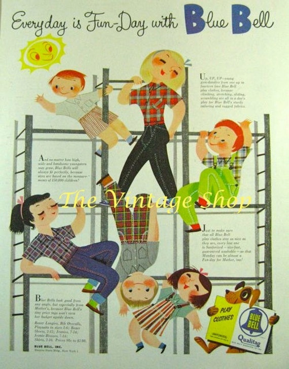 Cute Mary Blair Blue Bell Kids Clothing Ad..1950s Vintage Advertising
