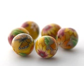 Sunshine Yellow Beads, Polymer Clay Flower Rounds with Monarch Butterfly 646