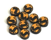 Polymer Clay Beads, Halloween Beads, Black Cat Moon, 10 Pieces