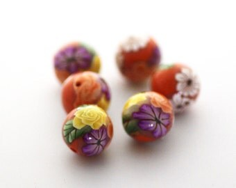 Polymer Clay Beads, Orange Beads, Tropical Flowers Round Beads 6 Pieces