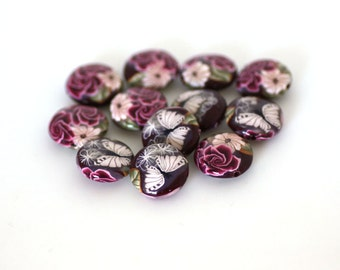 Roses on Crimson Polymer Clay Beads, Lentil Bead Dozen, 12 Pieces - Made to Order