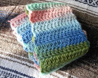 Saltwater Taffy - Handmade wool crocheted scarf