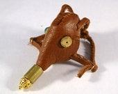 Miniature Steampunk Gas Mask Leather and Brass Handmade Ooak Mini