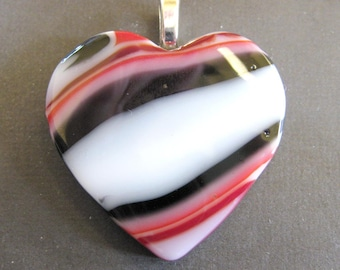 Glass Heart Pendant, Large Heart Jewelry, Red, Black and White Heart, Artisan Jewelry - Intrigue - 3897 -2