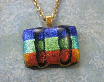 Striped Necklace, Dichroic Necklace, Fused Glass Pendant, Orange, Green, Blue, Ready to Ship, Dichroic Glass Jewelry - Flying Colors -1464-3