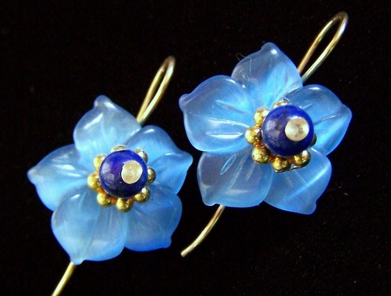 small forget me not earrings blue flower lapis lazuli cats