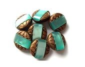 5 Antique vintage buttons, bronze color plastic buttons with blue shade trim, 20mm beautiful buttons