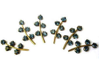 6 Vintage Swarovski leaves shape metal setting with unique blue crystal rhinestones-RARE