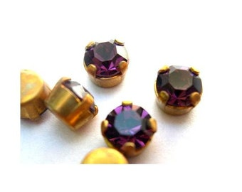 6 Antique vintage Swarovski  cabochon purple crystals mounted in brass setting cut 1100