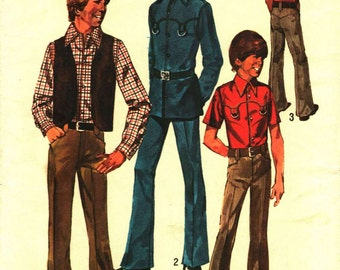 Vintage Teen Boys 14 years Sewing Pattern 1973 Vest Shirt and Pants