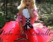 Pageant Outfit of Choice Little Red Riding Hood Costume Tutu  2 Piece Dress with Matching Cuffs Toddler 2-4T