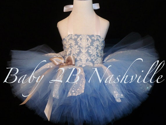 Blue Damask Snowflake Pageant Tutu  2 Piece Dress All Sizes