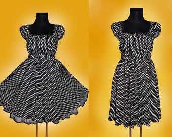 Summer 40s 50s STARS Rockabilly swing DRESS Pin Up US Plus Size 22 24 26 3X Black and White Star Retro Party