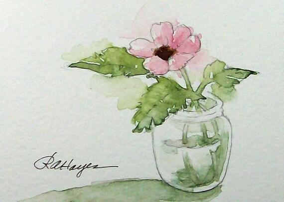 Pink Flower In Glass Jar Watercolor Painting Floral Original