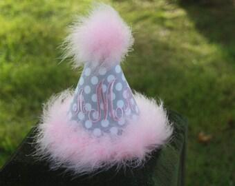"Gorgeous ""Lexi"" Custom Boutique Monogrammed Party Hat - Birthday - Personalized - Initials - Girls - Cake Smash - Celebration - Pink & Grey"