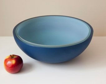 Horizon Bowl, Three Layer Hand Blown Glass Bowl in Blues