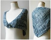 Blue Triangle Shawl Hand Knit Scarf, Lace Triangle Shawl, Knit Shawl, Wrap Scarf, Hand Knit Shawl, Lace Triangle, Wool Shawl Variegated Blue