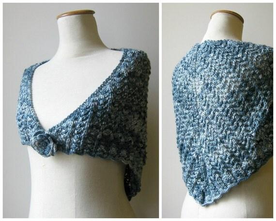 Blue Triangle Shawl Hand Knit Scarf, Lace Triangle Shawl, Knit Shawl, Wrap Scarf, Hand Knit Shawl, Lace Triangle, Wool Shawl, SALE