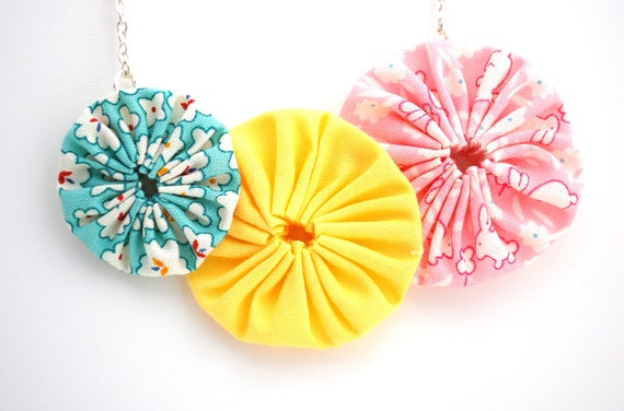 Pink Yellow and Blue Fabric YoYo Necklace