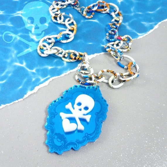 COLD SOUL - Beautiful Blue Skull and Crossbones Cameo in Blue Mirror