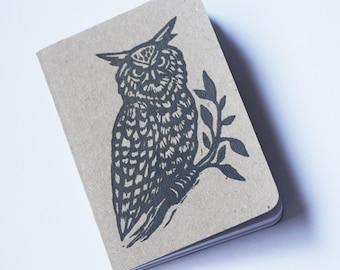 Journal Notebook, Travel Journal, Travel Notebook, Pocket Journal, Woodland Owl Linocut Pocket Notebook
