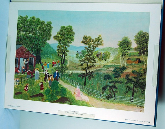 vintage Prints by Grandma Moses, art book, cottage chic, 1955