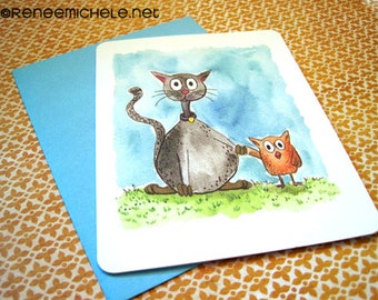 The Cat and the Owl Note Card