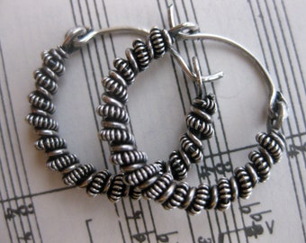 Small wire wrapped sterling silver earrings, hoops, handmade jewelry, metalwork