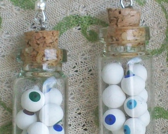 EYEBALLS Potion Bottle Earrings Miniature Halloween Witch Costume Jewelry Prop