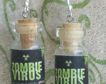 ZOMBIE VIRUS Miniature Potion Bottle Earrings Halloween Prop Jewelry Costume