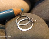 Small 14K White Gold Hammered Hoops. Ready to Ship.