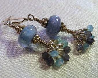 Beautiful Blues Lampwork Glass and Swarovski Crystal Earrings