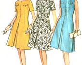 Vintage 60s Fit & Flare Dress Pattern - McCalls 7189 - Inverted Pleat - Proportioned Short / Medium / Tall - Size 18