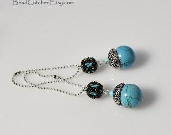 Turquoise beadwoven key chain charm