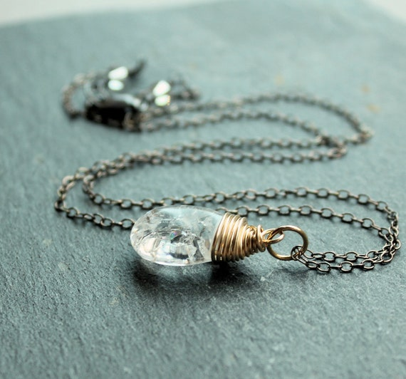 Clear Teardrop Necklace -  Crystal Quartz -  Sterling Silver -  Mixed Metals -  Wire Jewelry -   Handmade Necklace