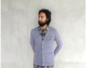Monogrammed cardigan - boyfriend sweater - mens/unisex XS-LG - heather gray jersey cardigans - for men or women - Blackbird Tees