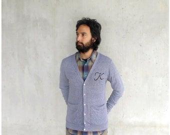 Monogrammed cardigan - boyfriend sweater - mens/unisex XS-LG - heather gray jersey cardigans - for men or women - CLOSEOUT