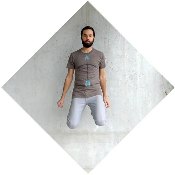 The Headhunter - tshirt for men - S-XL - tribal bow and arrow screenprint on heather brown track tees - fall fashion