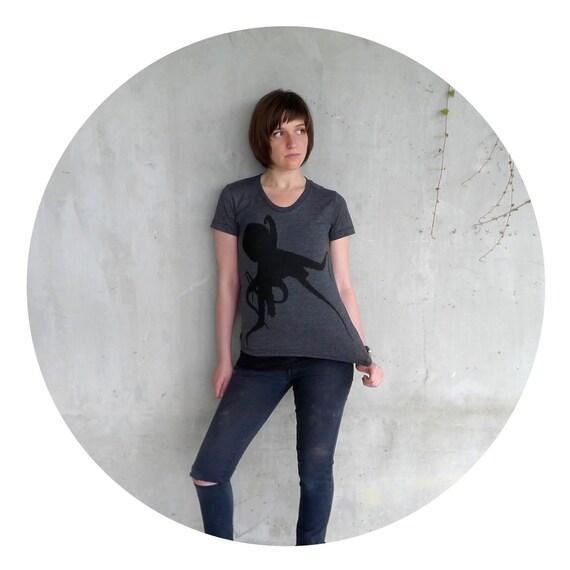 Sucker for Ink - womens t shirt - LARGE - nautical octopus screenprint on American Apparel heather black tshirt